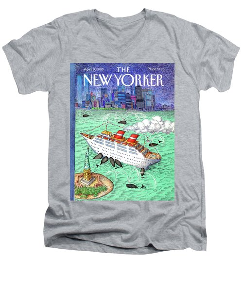 New Yorker April 9th, 1990 Men's V-Neck T-Shirt