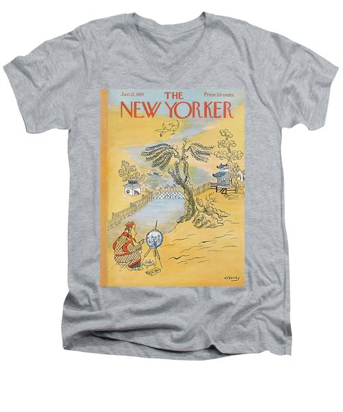 New Yorker January 12th, 1957 Men's V-Neck T-Shirt