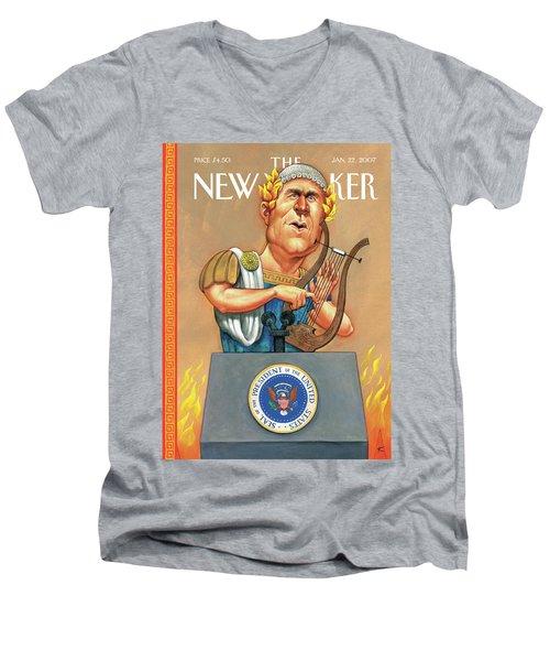 While Rome Burns Men's V-Neck T-Shirt