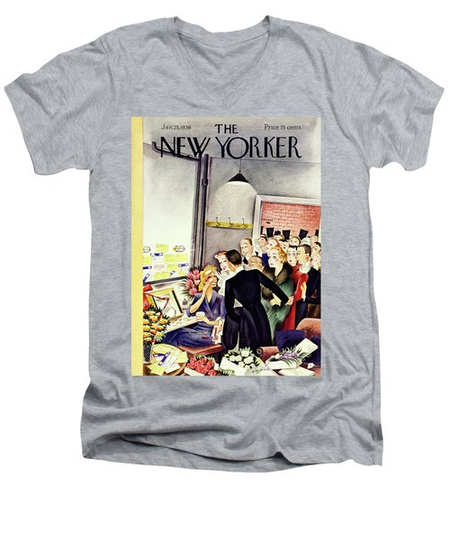 New Yorker January 25 1936 Men's V-Neck T-Shirt
