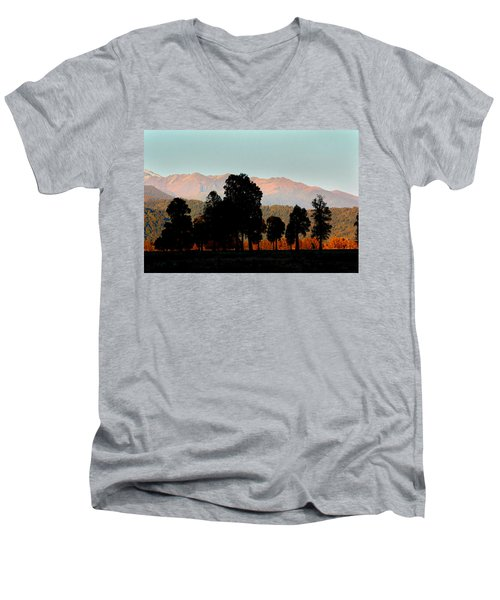 Men's V-Neck T-Shirt featuring the photograph New Zealand Silhouette by Amanda Stadther
