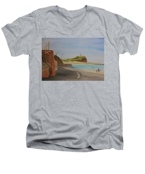 Men's V-Neck T-Shirt featuring the painting Newcastle Nsw Australia by Tim Mullaney