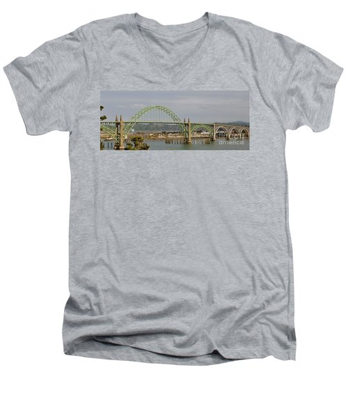 Men's V-Neck T-Shirt featuring the photograph Newport Bay Bridge by Susan Garren