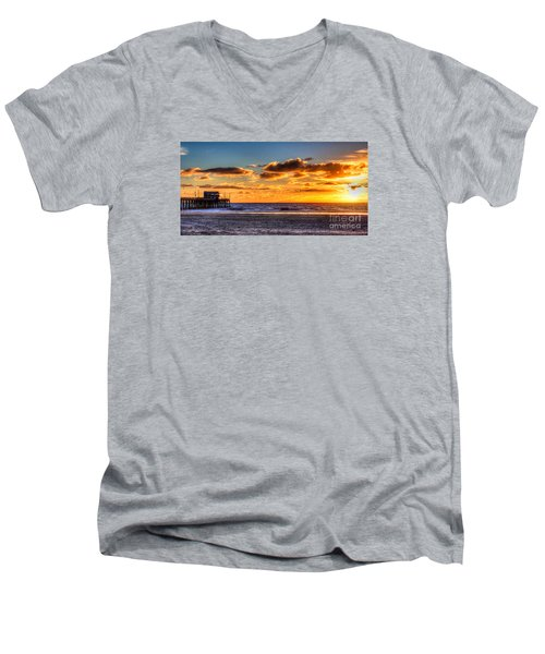 Newport Beach Pier - Sunset Men's V-Neck T-Shirt by Jim Carrell