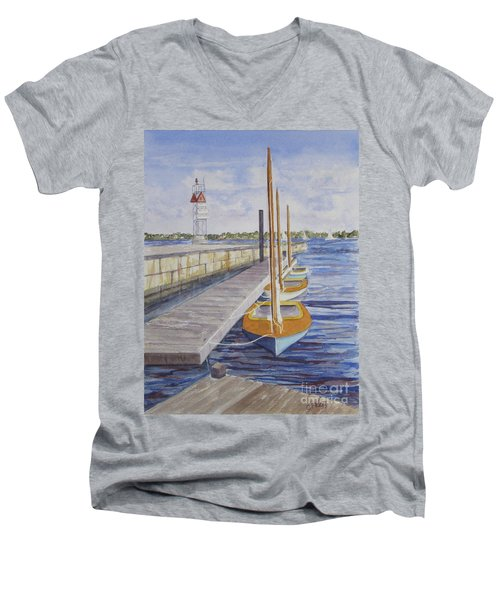 Newport Boats In Waiting Men's V-Neck T-Shirt by Carol Flagg