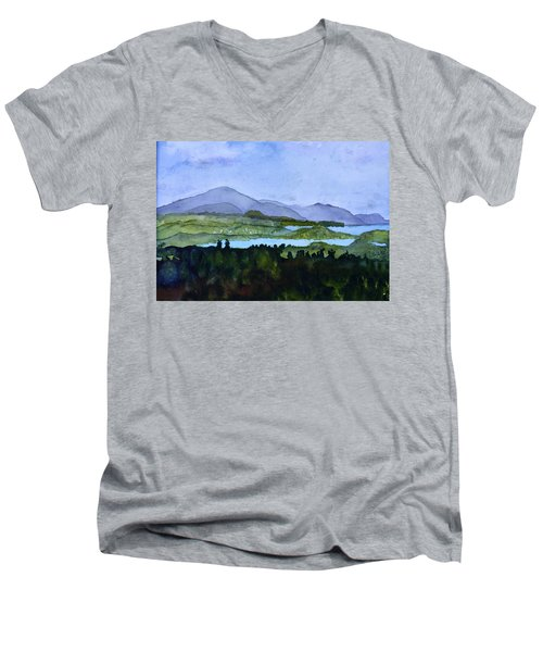 Men's V-Neck T-Shirt featuring the painting Newport From Brownington Lookout by Donna Walsh