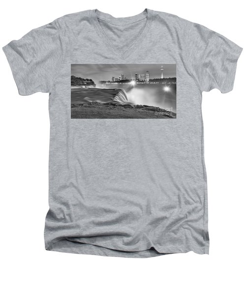 Niagara Falls Black And White Starbursts Men's V-Neck T-Shirt by Adam Jewell