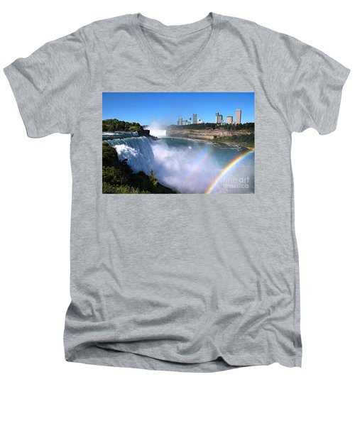 Niagara Falls Double Rainbow Men's V-Neck T-Shirt