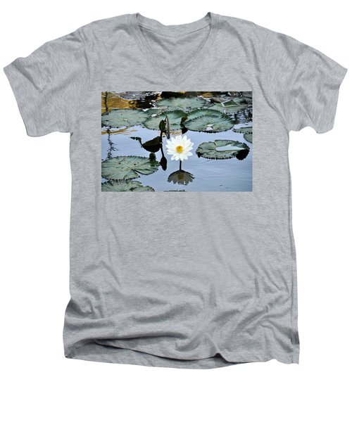 #night Blooming Water Lily Men's V-Neck T-Shirt
