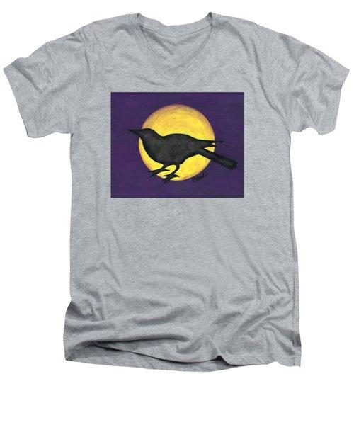 Night Crow On Purple Men's V-Neck T-Shirt