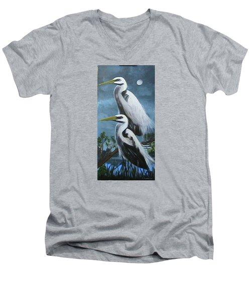 Night Egrets Men's V-Neck T-Shirt by Catherine Swerediuk