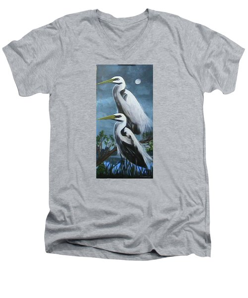 Night Egrets Men's V-Neck T-Shirt
