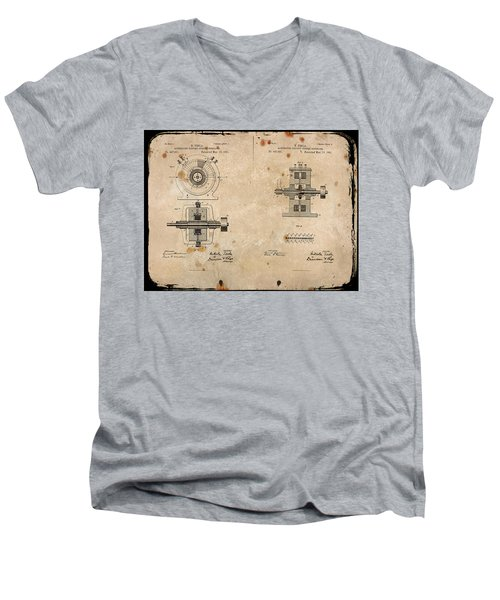 Nikola Tesla's Alternating Current Generator Patent 1891 Men's V-Neck T-Shirt