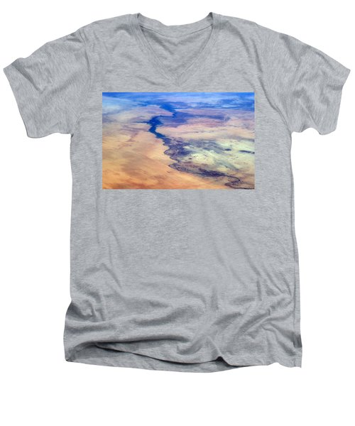 Men's V-Neck T-Shirt featuring the photograph Nile River From The Iss by Science Source