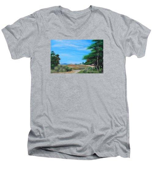 Nipa Hut In The Barrio Men's V-Neck T-Shirt by Remegio Onia