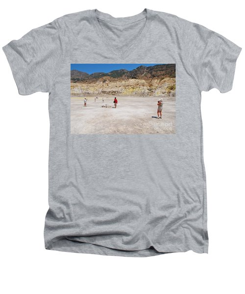 Nisyros Volcano Greece Men's V-Neck T-Shirt