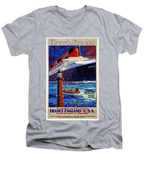 No Better Advice Than To Travel - French Line Men's V-Neck T-Shirt