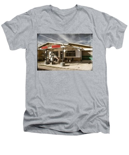 Men's V-Neck T-Shirt featuring the photograph No Gas by Steven Bateson