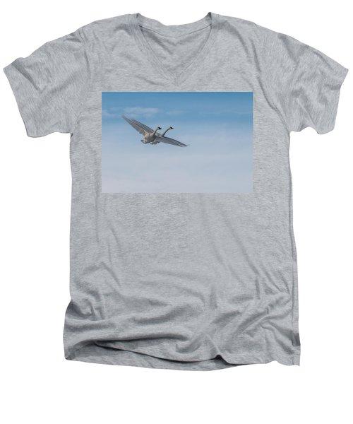 Trumpeter Swans Tandem Flight Men's V-Neck T-Shirt by Patti Deters