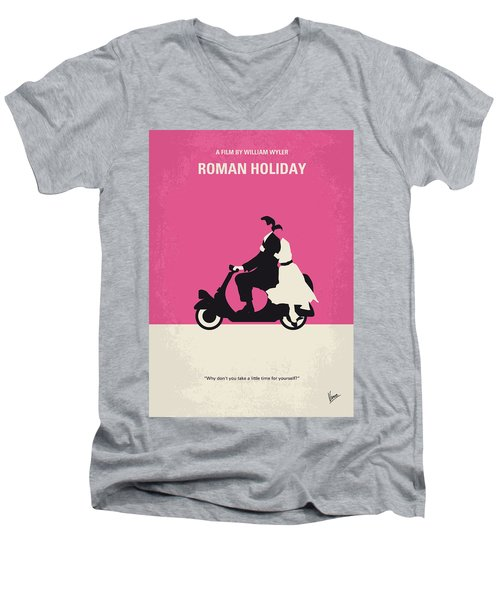 No205 My Roman Holiday Minimal Movie Poster Men's V-Neck T-Shirt by Chungkong Art