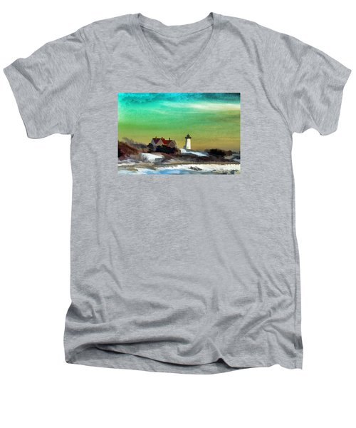Nobska Lighhouse In Winter Men's V-Neck T-Shirt