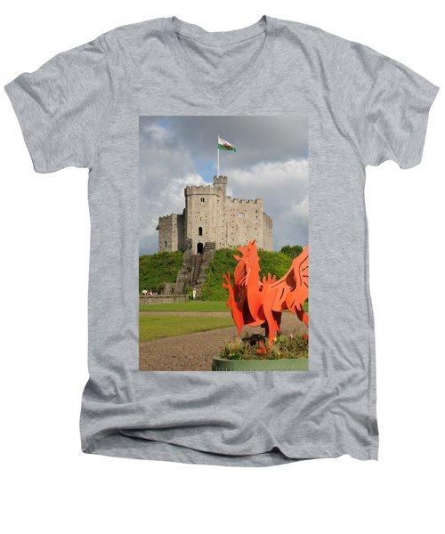 Norman Keep Cardiff Castle Men's V-Neck T-Shirt by Jeremy Voisey