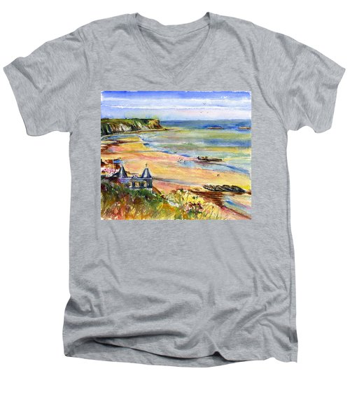 Normandy Beach Men's V-Neck T-Shirt by John D Benson