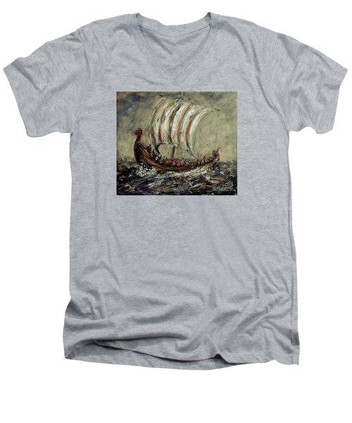 Norse Explorers Men's V-Neck T-Shirt by Arturas Slapsys