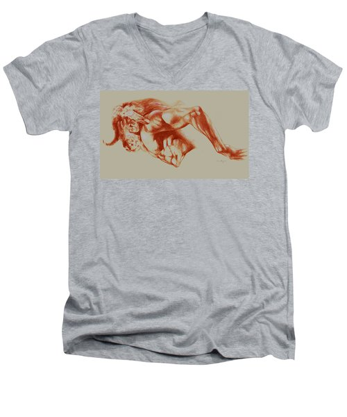 North American Minotaur Red Sketch Men's V-Neck T-Shirt