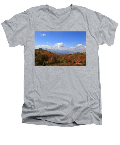 North Carolina Mountains In The Fall Men's V-Neck T-Shirt