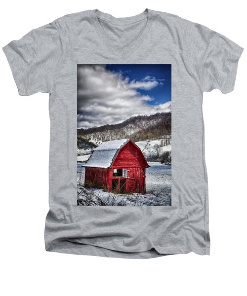 North Carolina Red Barn Men's V-Neck T-Shirt by John Haldane