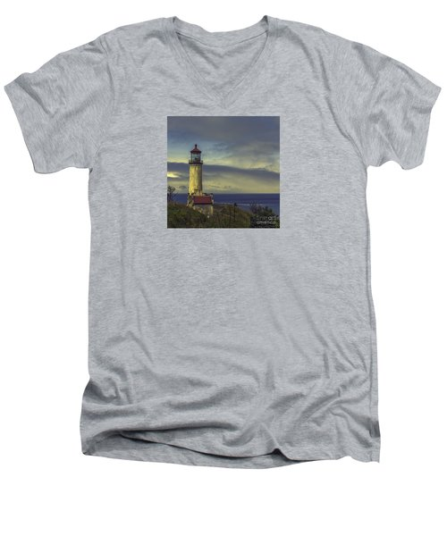 North Head Lighthouse Men's V-Neck T-Shirt by Jean OKeeffe Macro Abundance Art