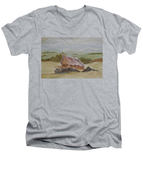 Men's V-Neck T-Shirt featuring the painting North Of Winnemucca by Joel Deutsch