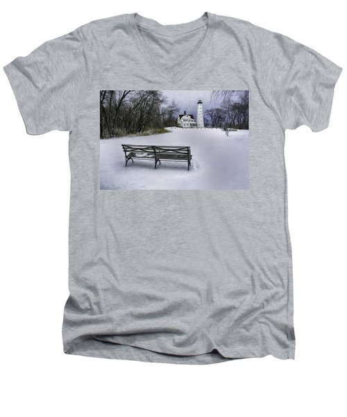 North Point Lighthouse And Bench Men's V-Neck T-Shirt