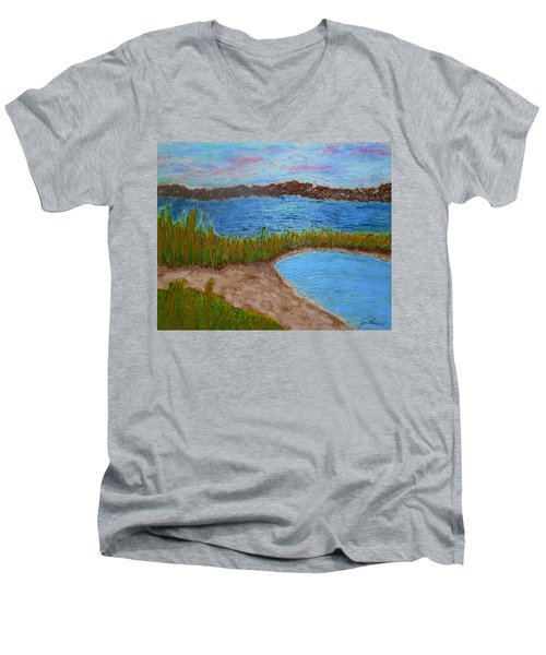 Men's V-Neck T-Shirt featuring the painting North Wildwood   New Jersey by Joan Reese