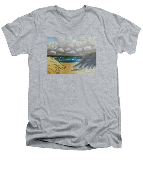 Men's V-Neck T-Shirt featuring the painting North Windang Beach by Pamela  Meredith