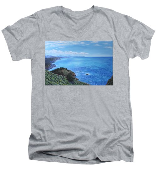 Men's V-Neck T-Shirt featuring the painting Northern California Coastline by Penny Birch-Williams