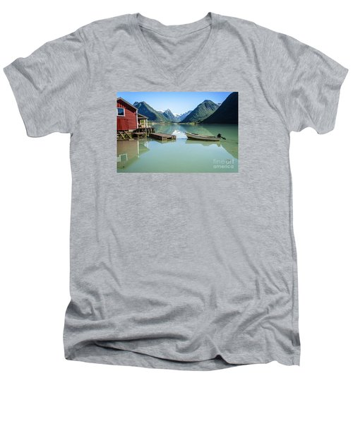 Reflection Of A Boat And A Boathouse In A Fjord In Norway Men's V-Neck T-Shirt by IPics Photography