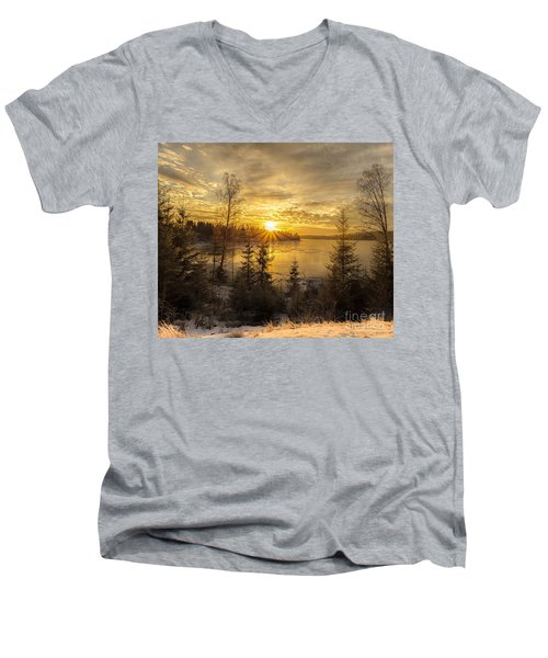 Men's V-Neck T-Shirt featuring the photograph Norway Hedmark by Rose-Maries Pictures