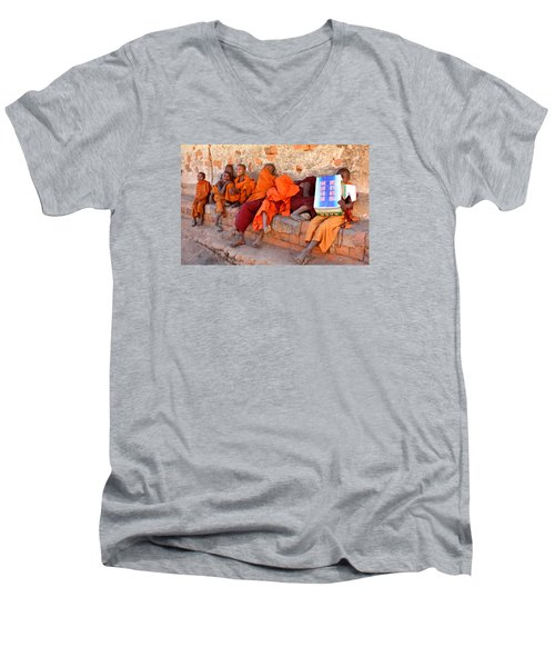 Novice Buddhist Monks Men's V-Neck T-Shirt