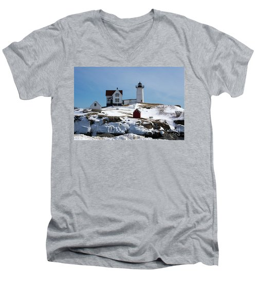 Nubble Light 2 Men's V-Neck T-Shirt by Kevin Fortier