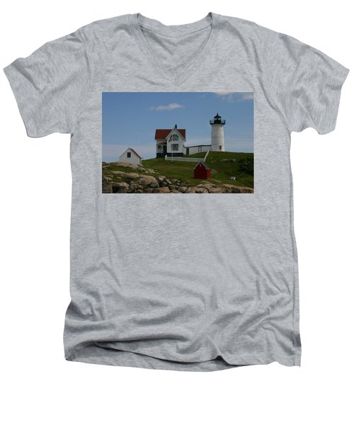 Men's V-Neck T-Shirt featuring the photograph Nubble Light House York Maine by Denyse Duhaime