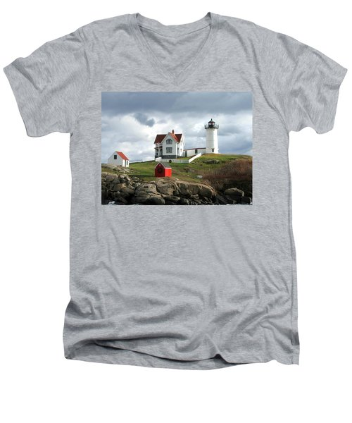 Nubble Lighthouse Men's V-Neck T-Shirt by Nancy Landry