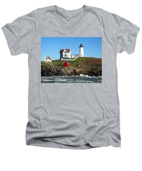 Men's V-Neck T-Shirt featuring the photograph Nubble Lighthouse One by Barbara McDevitt