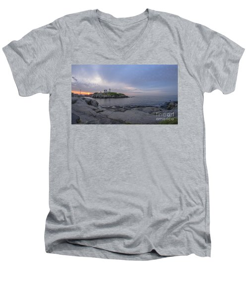 Nubble Lighthouse Men's V-Neck T-Shirt