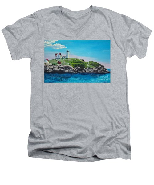 Nubble Lighthouse Sunrise Men's V-Neck T-Shirt