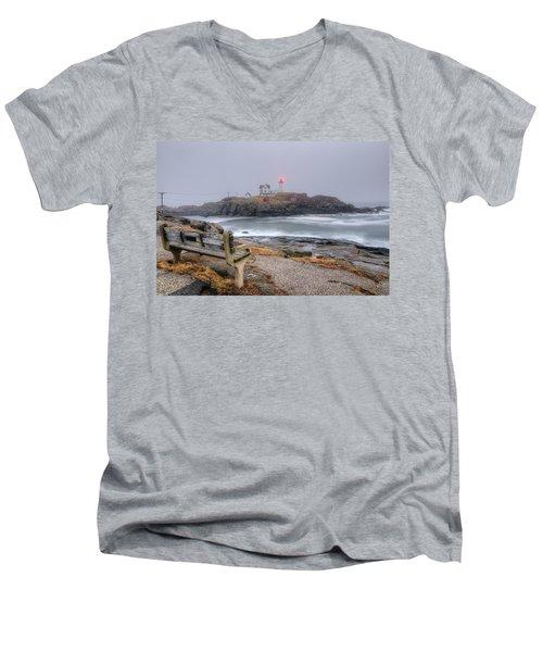 Nubble Lighthouse View Men's V-Neck T-Shirt