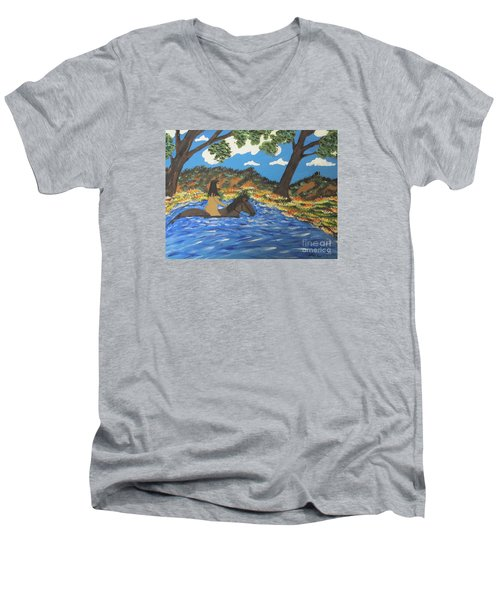 Men's V-Neck T-Shirt featuring the painting Nude And Bareback Swim by Jeffrey Koss