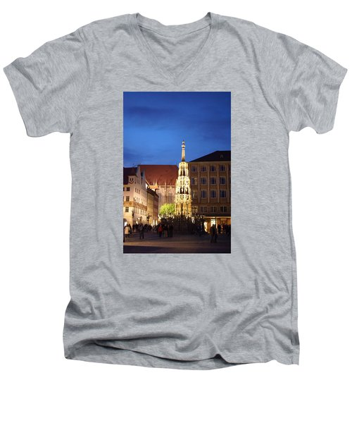 Men's V-Neck T-Shirt featuring the photograph Nuernberg At Night by Heidi Poulin