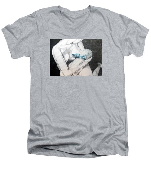 Men's V-Neck T-Shirt featuring the painting Nurturing The Sea by Lazaro Hurtado